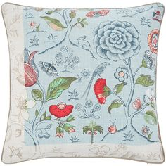 Pip Studio Spring To Life Pillow - 60x60cm - Blue (81 CAD) ❤ liked on Polyvore featuring home, home decor, throw pillows, blue, cotton throw pillows, pip studio, blue home decor, blue throw pillows and floral home decor