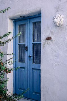 Blue traditional door at Kea island, Cyclades, Greece