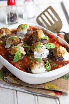 Meatball Stuffed Mushrooms via Cheeky Kitchen #AMushroomGathering