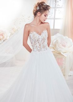 Bridesfamily Amazing Tulle Sheer Scoop Neckline See-through A-Line Wedding Dress With Beaded Lace Appliques Wedding Dresses Plus Size, Bridal Wedding Dresses, Illusion Neckline Wedding Dress, Transparent Dress, See Through Dress, Beaded Lace, Lace Applique, Pink Dress, Ball Gowns