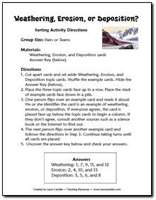 Free Weathering, Erosion, and Deposition Sorting Activity - includes directions and task cards for sorting (scroll down to the geology freebies) 8th Grade Science, Middle School Science, Elementary Science, Science Classroom, Science Resources, Science Lessons, Science Activities, Science Experiments, Teaching Resources