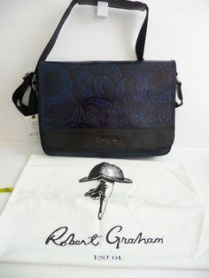 "Robert Graham NWT ""Vidal"" Navy Leather & Nylon Messenger Bag Briefcase $428. #RobertGraham #MessengerShoulderBag"