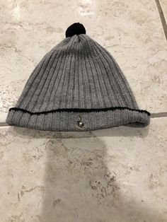 aa5fc14f793 boys JACADI PARIS gray knit WINTER HAT anchor embroidery size 49 cashmere  wool    fashion