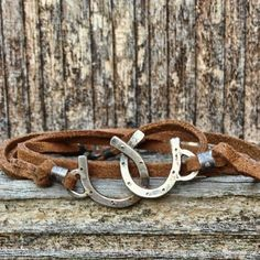 Love this!! Cowgirl jewelry  Double Horseshoe leather wrap by JoLovesJewelry, $38.00