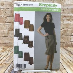 Simplicity 4787 Womens Skirt with Variations Size 6 12 Uncut Sewing Pattern #simplicity #Skirt