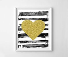 Gold glitter heart printable room decor gold heart by NeoArtBook
