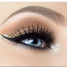 Black winged liner with a hint of gold glitter
