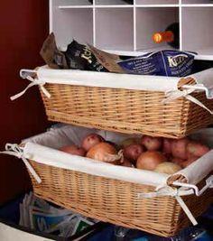 Pull-out baskets are a great way to organize loose produce such as potatoes or other items that would tumble off a shelf.
