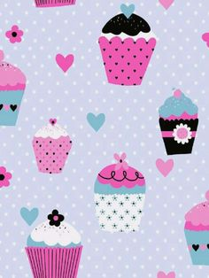 Cupcakes on Silver Blue Polka Dot Wallpaper