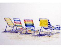 Sally Snider WATERCOLOR · Watercolor IdeasWatercolor PaintingsBeach  ChairsBeach ...