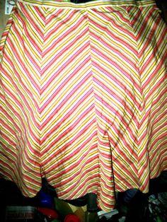 SIZE 7 W32 Hip20 L23 TRACY EVANS stretch stripe SKIRT gorded w/side zipper