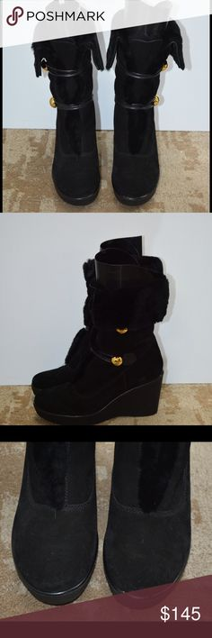 """Coach black suede wedge boots w/gold buttons Like new black suede boots with faux fur lining and fold over faux fur trim.  Gold button accents and elastic closure for adjustable fit. size 8. Heel height is 3.5"""" wedge. Coach Shoes Heeled Boots"""