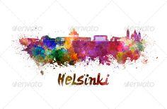 Helsinki skyline - Things to see in Helsinki in 1 day Watercolor Splatter, Watercolor Paper, Helsinki, Watercolor Background, Art Background, Website Themes, Poster Wall, Graphic Prints, Illustration Art