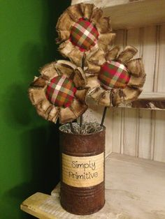 Primitive Flower Arrangement - Plaid on Etsy, $18.00