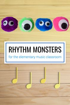 A cute idea for making rhythm monsters using puffballs and googly eyes. This would be great for elementary rhythm practice or as a fun end-of-year activity for the music classroom. Music Activities For Kids, Music Education Games, Music Games, Music Mix, Rhythm Games, Educational Activities, Physical Activities, Elementary Music Lessons, Music Lessons For Kids
