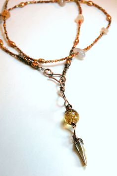 Hammered Copper and Beaded Carnelian and by AllowingArtDesigns, $52.00