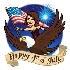 Awesome #WonderWoman (animated) holding a beautiful American flag with an awesome Eagle for the 4th of July today Tuesday 7-4-17 #USAs 241st BDay