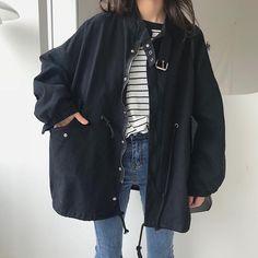Women casual denim trench coat asymmetrical outwear, single-breasted washed fold denim windbreaker j ZANZEA Women Winter L. Korean Aesthetic, Aesthetic Fashion, Look Fashion, Aesthetic Clothes, Fashion Outfits, K Fashion Casual, Korean Casual, Korean Style, Casual Outfits