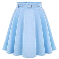 Choies Blue High Waist Silky Skater Skirt With Belt (€17) ❤ liked on Polyvore featuring skirts, bottoms, saias, blue, flared skirt, blue circle skirt, high waisted skater skirt, high waisted skirts and blue knee length skirt