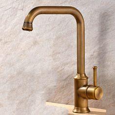Antique Brass Finish Single Handle Swivel Kitchen Tap T02001
