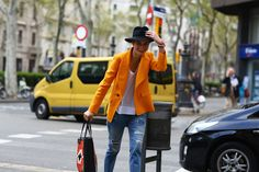 Love the colored jacket and love the street scene