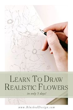 Learn how to draw beautiful, realistic flowers in this 5 day drawing challenge, where I'll share 5 of my favorite drawing tips and tricks with you! We'll practice drawing florals, gain some confidence and make some friends along the way! Drawing Skills, Drawing Lessons, Drawing Techniques, Drawing Tips, Learn Drawing, Drawing Ideas, Plant Drawing, Painting & Drawing, Dot Painting