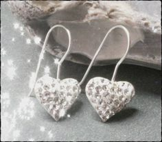 Silver Heart Earrings Sterling 925 Drop Dangle by JewelryTarget, £16.99