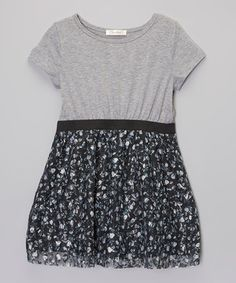 Look what I found on #zulily! Gray & Black Floral Lace Dress - Girls by Chelsea #zulilyfinds