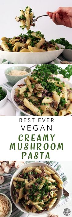 vegan mushroom cream sauce recipe | This creamy vegan mushroom pasta is a dream for all you mushroom lovers out there like me. It's the perfect quick and easy weeknight meal, but also feels fancy and decadent. It's seriously the best vegan pasta recipe ever!
