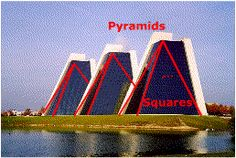These buildings very well relate to geometry. They show a group of triangular pyramids.