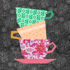 Cups Stacking paper pieced quilt block pattern PDF by BubbleStitch Paper Pieced Quilt Patterns, Quilt Block Patterns, Pattern Blocks, Quilt Blocks, Quilting Projects, Sewing Projects, Patch Aplique, Paper Embroidery, Embroidery Ideas
