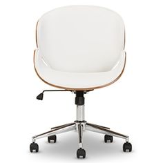 Baxton Studio Bruce Modern and Contemporary White and Walnut Office Chair…