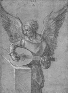 Albrecht Durer -  Engel mit Laute 1497 Style: Northern Renaissance