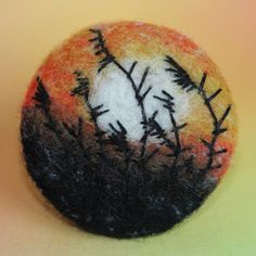 """Brož \""""Za vodou v rákosí\"""" Embroidery, embroidered button, coated, Brussels, romance, romance, ancient, button, meadow blossom, landscape, meadow, nature, landscape, monet, sunset, reeds, felting needles hand and ambroidery"""