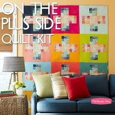 Nine patches, squares, and strips: On the Plus Side Quilt Kit by Angela Walters, featured in Quilts & More Winter 2014 issue