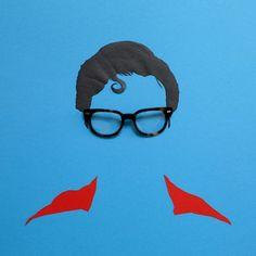 Minimalist images of celebrities created by David Schwen for online eyewear retailer Warby Parker. #ClarkKent #Advertising