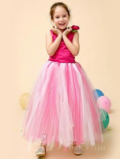 Little Girls Rose Tutu Performance Dress Flower Girls Skirt