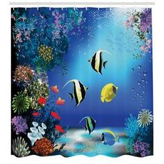 East Urban Home Ambesonne Underwater Shower Curtain, Tropical Undersea With Colorful Fishes Swimming In The Ocean Coral Reefs Image, Cloth Fabric Bath Bedroom Windows, Window Drapes, Door Curtains, Coral Curtains, Curtain Door, Shower Curtain Sets, Bathroom Shower Curtains, Bathroom Kids, Master Bathroom