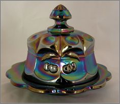 Mosser Amethyst Carnival Glass Cherry Cable Covered Butter Dish
