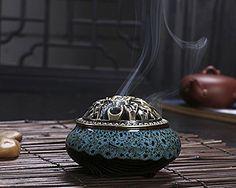 BXT Vintage Ceramic Incense Burner Holder Fit for Cone Stick Coil Incense (Blue-A) Macross Anime, Ceramic Baking Dish, Incense Holder, Shabby Chic, Incense Burner, Natural Healing, Antique Jewelry, Objects, Porcelain