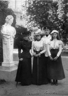 Dowager Empress Maria Feodorovna with her daughters, Xenia and Olga and son Mikhail. Gatchina,