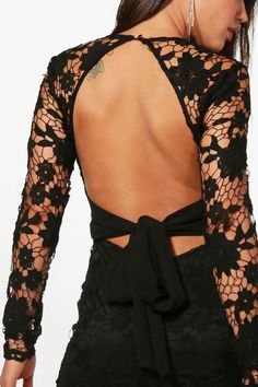 Libby Lace Open Back Detail Bodycon Dress | Boohoo