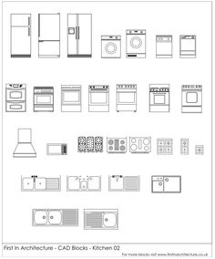 Home Design Drawings FIA Kitchen Cad Blocks 02 - A selection of free cad blocks, featuring a ovens, cookers, hobs, fridges and Architecture Symbols, Interior Architecture Drawing, Architecture Concept Drawings, Interior Design Sketches, Architecture Plan, Architectural Drawings, Architecture Diagrams, Architectural Models, Autocad