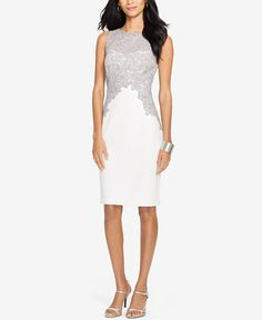 35bf244404a Lauren Ralph Lauren Lace Crepe Dress - Morning Glory - Women - Macy s This  would be beautiful with capped sleeves!