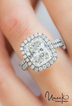 Uneek Fine Jewelry - 5-Carat Cushion-Cut Diamond Halo #EngagementRing with Pave Double Shank, in Platinum. Handcrafted in Los Angeles, CA || Style # LVS963 - UneekJewelry.com