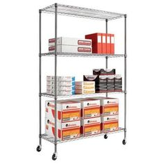 New Alera® Complete Wire Shelving Unit W/caster, 4-shelf, 48w X 18d X 72h, Black
