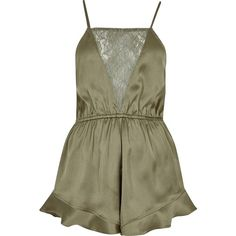 River Island Khaki green frill lace panel romper ($24) ❤ liked on Polyvore featuring jumpsuits, rompers, dresses, playsuits, shorts, khaki, ri limited edition, sale, women and ruffle jumpsuit