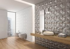 In 2018 bathroom remodeling trends, technology, design, and other features all come together in harmony to bring you both bold and subtle luxury. 3d Tiles Bathroom, 3d Wall Tiles, Wall Tiles Design, Bathroom Trends, Wall And Floor Tiles, Bathroom Flooring, Bathroom Wall, Bathroom Remodeling, Shower Bathroom