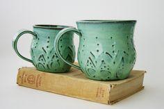 XL Stoneware Mug - Ceramic Coffee Cup - Large Man Mug Beer Stein - Aqua Mist French Country Dinnerware. $34.00, via Etsy.