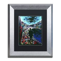 "Trademark Art ""The Existential Man and His Dog"" by Lowell S.V. Devin Matted Framed Painting Print Size:"
